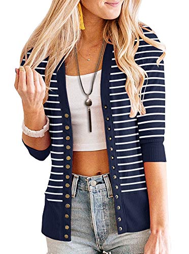 PAPOSON Women's 3/4 Sleeve Striped Button Down Casual Cardigan Soft V-Neck Knitwear (Navy Blue Stripe,S)