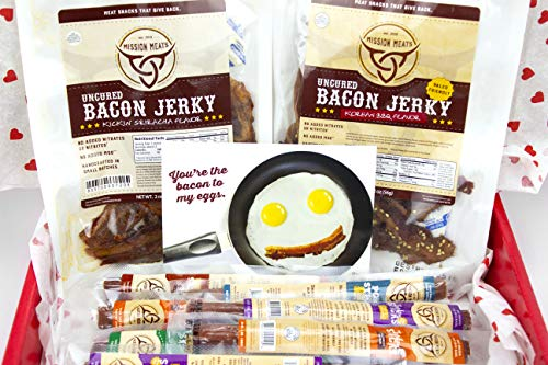 Mission Meats Significant Other Gift Box Bacon Jerky Turkey Sticks Beef Sticks Pork Sticks Gluten MSG Nitrate & Nitrite Free Paleo Keto Snacks Healthy Natural Meat Sticks