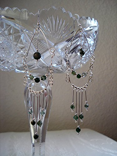Sterling Silver and Green Moss Agate Chandelier Earrings ()