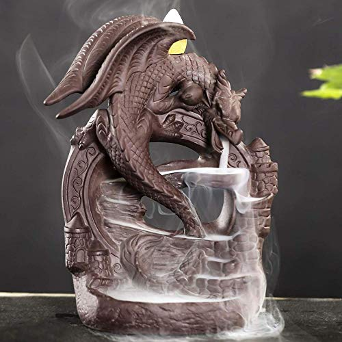 Mangetal Ceramic Backflow Incense Burner Dragon, Incense Cones Burner Incense Stick Holder Backflow Incense Burner with 10 Free Cones Home Decoration Handicraft Gift
