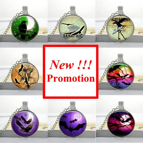 Pretty Lee Fashion Glass Cabochon Dome Jewelry Black Raven Necklace Halloween Bat Pendant Picture Necklace