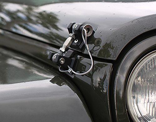 ICARS 2007-2018 Jeep Wrangler JK JKU Hood Latches Hood Lock Hood Catch Without Key, Retro Style, Stainless Steel, Black - Pair by ICARS (Image #7)