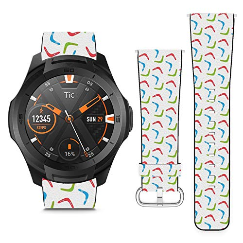 Compatible with TicWatch S2 // 22mm Leather Replacement Bracelet Strap Wristband with Quick Release Pins // Colorful Boomerangs ()