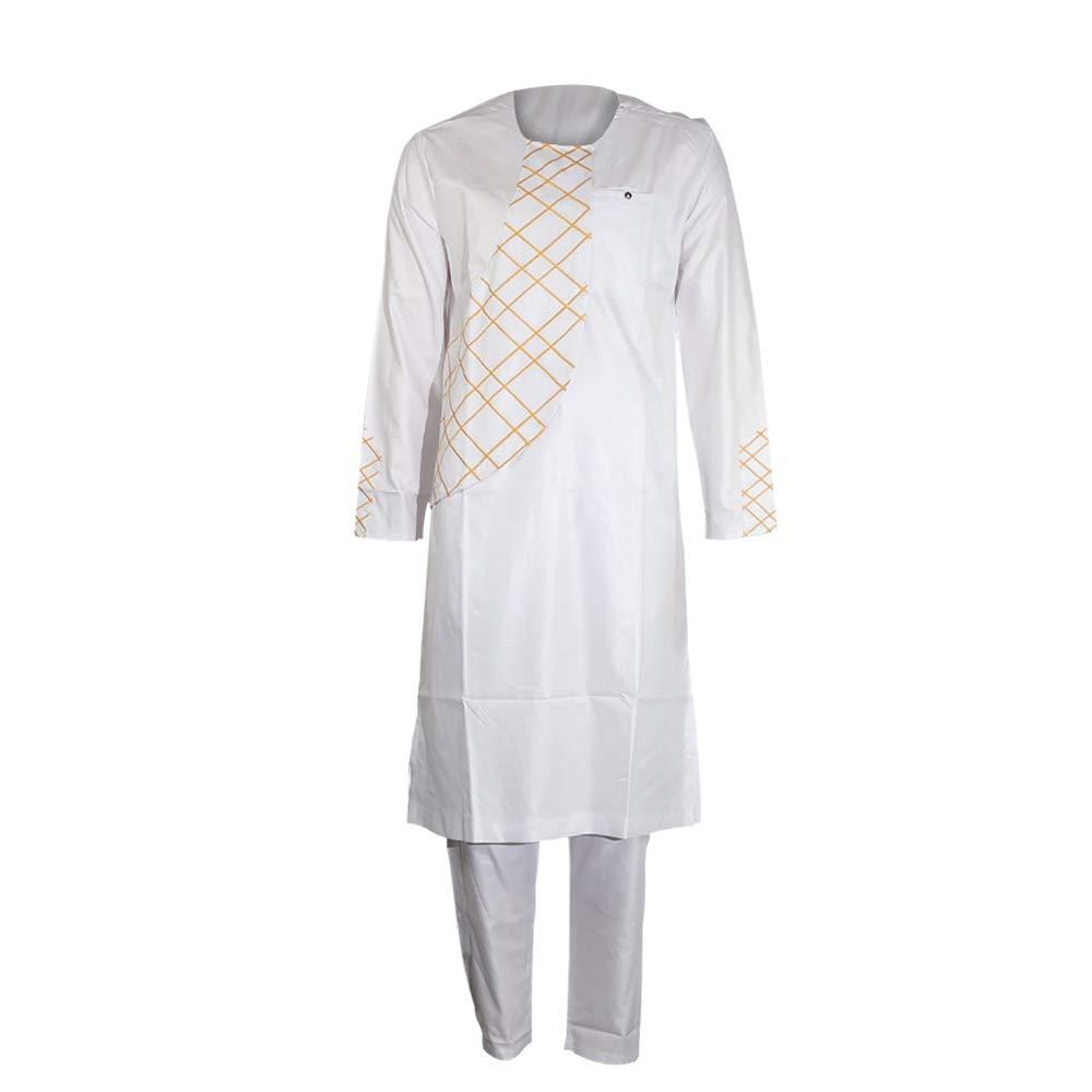 African Embroidery Clothing Dashiki Kaftan Long Pants Men Clothes Sets White 3XL