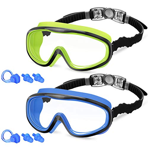 KNGUVTH Kids Swim Goggles, Pack of 2 No Leaking Swimming Goggles Anti-Fog UV Protection Crystal Clear Wide Vision Swim Glasses with Nose Clips + Ear Plugs for Children Early Teens (Black Blue & Green)
