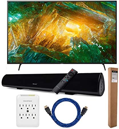 Sony XBR-X800H 75-Inch LED 4K Ultra HD HDR Smart TV with Knox Gear Wireless Bluetooth Soundbar with Mounting Bracket, Nylon-Braided 4K HDMI Cable, and six Outlet Slim Surge Protector Bundle (5 Items)