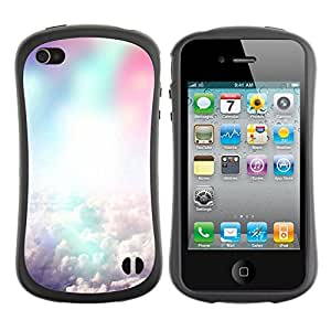 Fuerte Suave TPU GEL Caso Carcasa de Protección Funda para Apple Iphone 4 / 4S / Business Style Colorful clouds