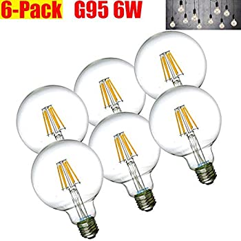 G95 Vintage Edison Bulb G30/G95 6W LED Light Filament Bulb, Large Globe Bulb, E26 Base, Warm White 2700K, 60Watts Equivalent, 110-120VAC, Dimmable (6 pcs)