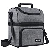 Hap Tim Insulated Lunch Bag Upgraded Large Size Lunch Box for Men, Women,Adult,Kids Dual Compartment Large Lunch Tote Bag for Office/Picnic/Travel/Camping/Work/School (N16040-G)