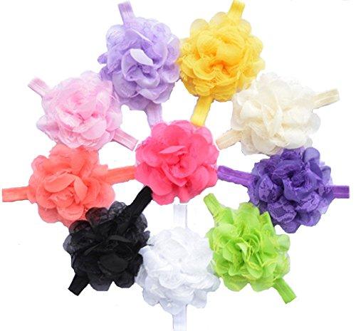 Bandeaux Fleur mousseline cheveux de QS Baby Girl (10 Pack)