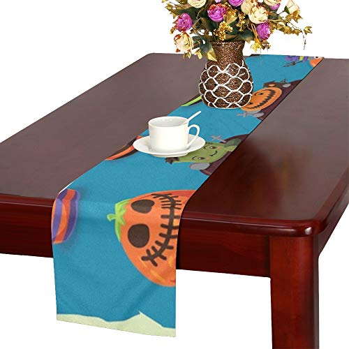 ENEVOTX Vintage Halloween Poster Design Cupcake Set Table Runner, Kitchen Dining Table Runner 16 X 72 Inch for Dinner Parties, Events, Decor]()
