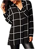 VENAS Women's 3/4 Solid Casual Loose Shirt Long Sleeve Collar Neck Button Down Chiffon Blouse Tops Boyfriend T-Shirt Dresses (M, Tartan Black)
