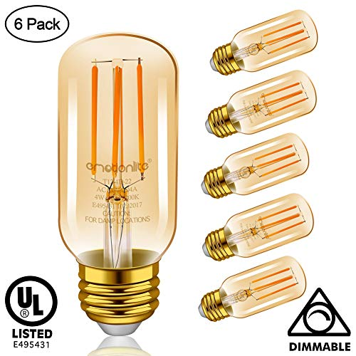 Emotionlite Vintage Light Bulb E26, LED Edison Bulb Dimmable, Amber Glow, 4W (40W Equivalent), E26 Base, 300LM, 2200K Ultra Warm, Tubular, 6 Pack, UL Listed