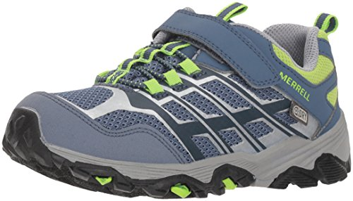 Merrell Boys' Moab FST Low a/C Waterproof Hiking Shoe, Grey/Green, 6.5 Medium US Big - Merrell Green