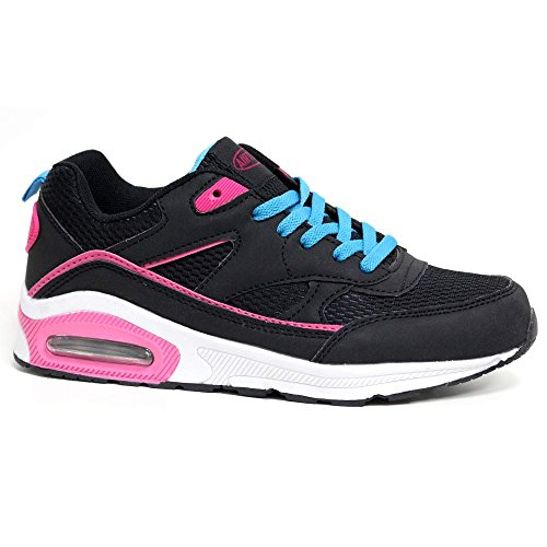 Air Trainers Fitness Running Blue Tech Shoes Ladies Size 4 Shock 8 Black Sports Gym Absorbing 5SERqYx
