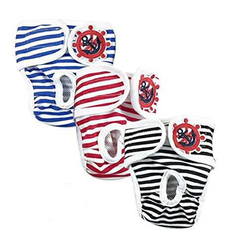 3 Pcs Female Pet Dog Diaper Physiological Pants Reusable Sanitary Shorts Panties Menstruation
