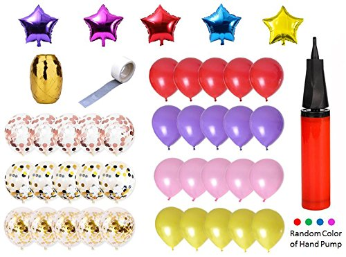 Confetti Balloons for Wedding or Birthday Party Decorations, Assorted Color Latex Balloons, star shape Foil Mylar Balloons, Balloon glue, Curling Ribbon Egg, Hand Pump