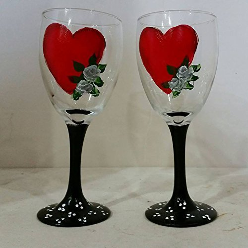 Amazon Com Valentine S Day Heart Wine Glasses Set Of 2 Hand Painted