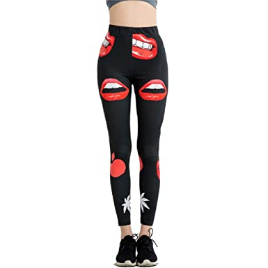 Women Red Lips Print Casual Black Leggings Splicing Skinny Legin Workout Ankle Length Thin Yogaes Trousers