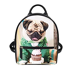 STARTERY Cute Pug Dog Chiwawa Print Girl's Small Leather Backpack Travel Bag Daypack, pattern 10