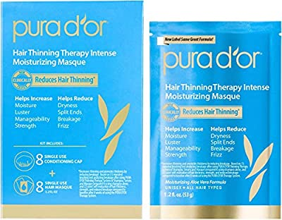 PURA D'OR Hair Thinning Therapy Intense Moisturizing Masque (8-Pack) Deeply Hydrating Treatment Mask, Infused with Natural & Organic Ingredients, For All Hair Types, Men & Women (Packaging may vary)