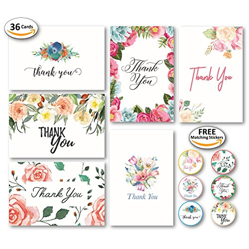 l Thank You Cards with Envelopes and 48 Matching Stickers for Bridal Shower, Wedding, Baby, Teacher - Cute Rustic Boho Floral Watercolor Custom Stationery Note Set (36 Pack) ()