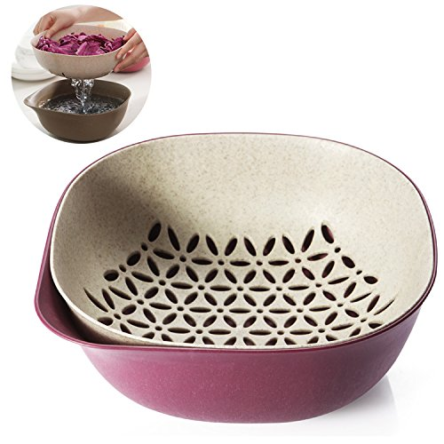 Oak-Pine 2-in-1 Multipurpose Plastic & Wheat Straw Drain Basket Bowl Food Wash Strainers Collapsible Colanders Kitchen Strainer for Vegetables Fruit Kitchen Tool (Oak Kitchen Sink)