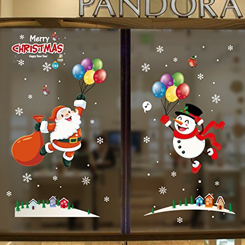 UMIPUBO Christmas Window Clings Window Wall Stickers Cute Santa Claus Snowman Static PVC Stickers for Christmas Home/Shop/Party Window Decorations (A)