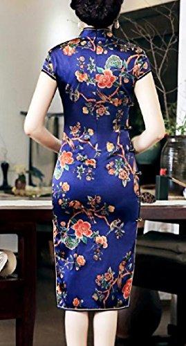 Confortables Femmes Impression Rétro Style Ethnique Robe De Soie Bleu Marine Cheongsam