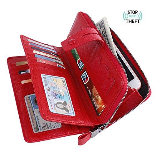 Women Slim Passport Card Holder Wallet (Red) - 7