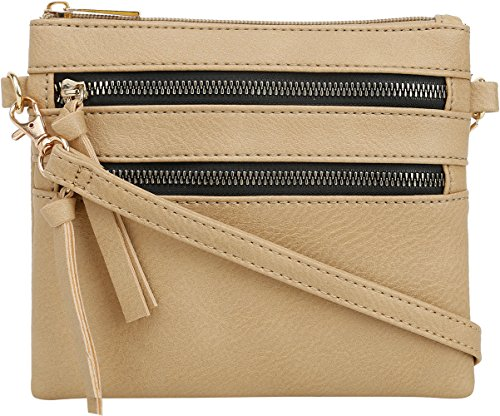 Detachable Strap Zipper (DELUXITY | Crossbody Wristlet Bag | Functional Multi Pocket Double Zipper Purse | Adjustable & Detachable Strap | Small Size Purse | Camel)
