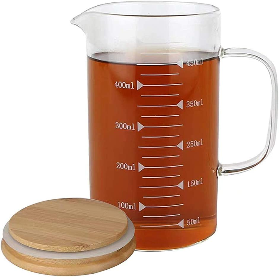 Measuring Cup-Glass Measuring Cup Heat-Resistant Transparent Scale Beaker, Food-Grade High Borosilicate Glass Cup, Used for Milk Coffee Microwave Kitchen Rroasted Beverage Cocktail Experiment16oz500ml