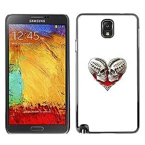 TopCaseStore / la caja del caucho duro de la cubierta de protección de la piel - Skull Death Heart White Biker Love - Samsung Galaxy Note 3 N9000 N9002 N9005