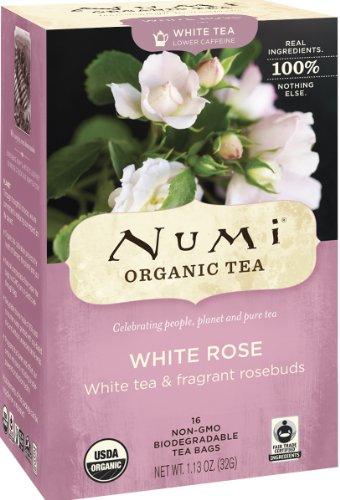 Numi Organic Tea White Rose, Full Leaf White Tea, 16-Count non-GMO Tea Bags (Pack of 3)