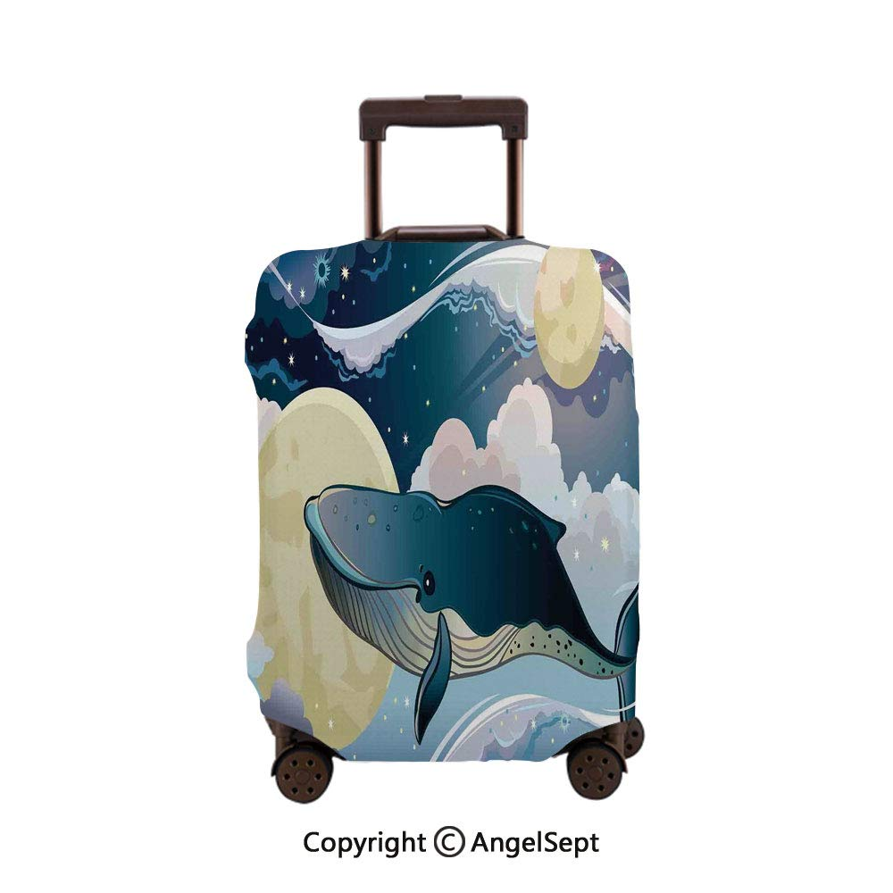 Travel Luggage Cover Suitcase Protector,Butterflies and Flourishing Swirled Blossoms Bouquet Botany sy Beige Green Red,30x40inches,Fashion Luggage Protector Suitcase Cover