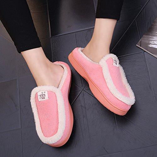 Y-Hui pareja invierno zapatillas de algodón Bolsa con damas del hombre interior, Hogar y calzado antideslizante SHOES Invierno térmico Pink