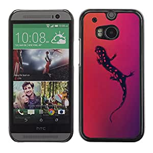 QCASE / HTC One M8 / lizzard manchas arte reptil dots negro dibujo rojo / Delgado Negro Plástico caso cubierta Shell Armor Funda Case Cover