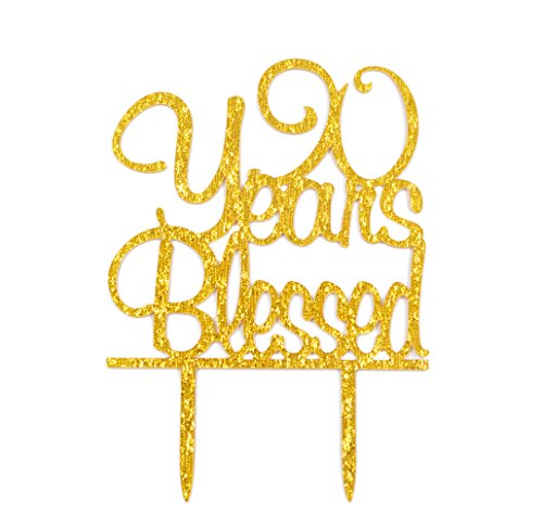 Firefairy(TM) 90 Years Blessed Acrylic Cake Topper 90th Birthday Anniversary Party Decoration Supplies(Gold) by Firefairy