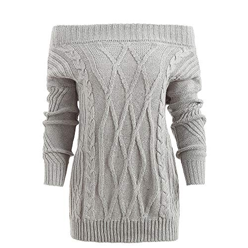(CharMma Women's Off The Shoulder Loose Fit Cable Knit Pullover Jumper Sweater (Gray,)