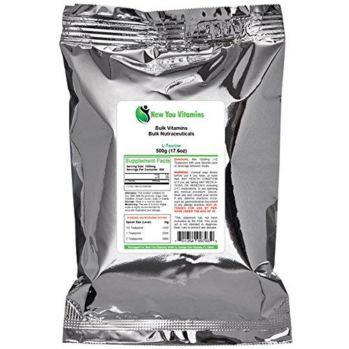 L-Taurine poudre de nouveau vous vitamines en vrac 100 % Pure poudre de L-Taurine vrac 500g (500 grammes) 17,6 oz (17,6 oz)