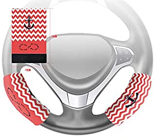 Custom Live the Life You Love, Love the Life You Live.Coral And White Chevron Zig Zag Pattern With Anchor Steering Wheel Cover Hook and Loop Covers For Car Size 10x16cm 2 PCS