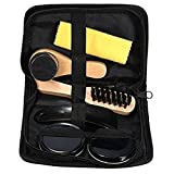 Pinovk 6 In 1 Black Neutral Shoe Shine Polish Cleaning Brushes Travel Leather Shoe Care Set Kit