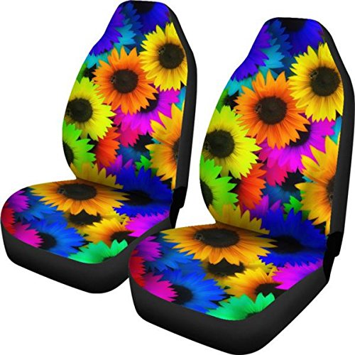 Muggalicious Car Seat Covers with Bright Colorful Hippie Sunflowers Custom Design - for Front Bucket Seats - Universal Fit for Most Cars and SUV