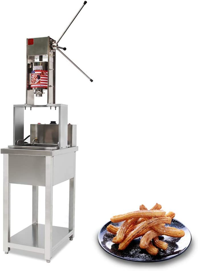 JIAWANSHUN Commercial 5L Churros Maker Vertical Churros Making Machine with 20L Electric Fryer 5 Molds (110V)