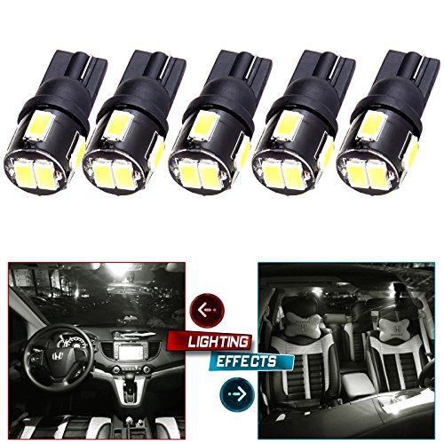 CCIYU 5 Pack Xenon White Cab Marker led Light T10 6-5730 SMD For1999-2015 Ford F-250 (Marker Ss Band)