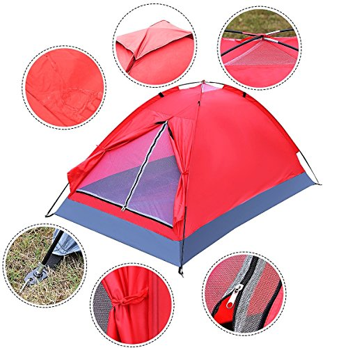 New Waterproof 2 Person Camping Tent Travel Outdoor Hiking Double Layer Backpack Red by New