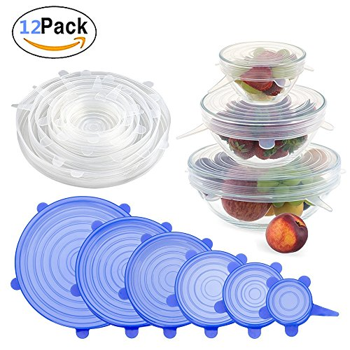 12 Packs Silicone Stretch Fresh Lids, Fresh-Care and Seal Suction Preserving Lid Various Size Reusable Elasticated Food Fresh Saver Storage Covers Wrap for Bowls Cups Pots Can Mason Jar Mugs Container