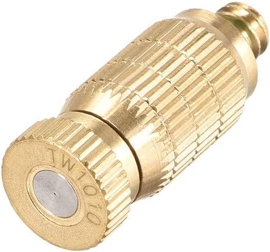 uxcell Brass Misting Nozzle - 3/16-inch Threaded 0.1mm Orifice Dia Fogging Spray Head for Outdoor Cooling System - Golden