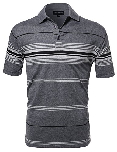 Basic Everyday Stripe Polo T-Shirt Charcoal (Fall Out Boy Halloween T Shirt)