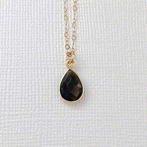14k Gold Filled Smokey Quartz Teardrop Stone Dainty Necklace, Delicate Necklace, Simple Necklace, Layered Necklace, Everyday Necklace, Gold Necklace, Minimalist Jewelry, Bridesmaid Gift, Gift for her.